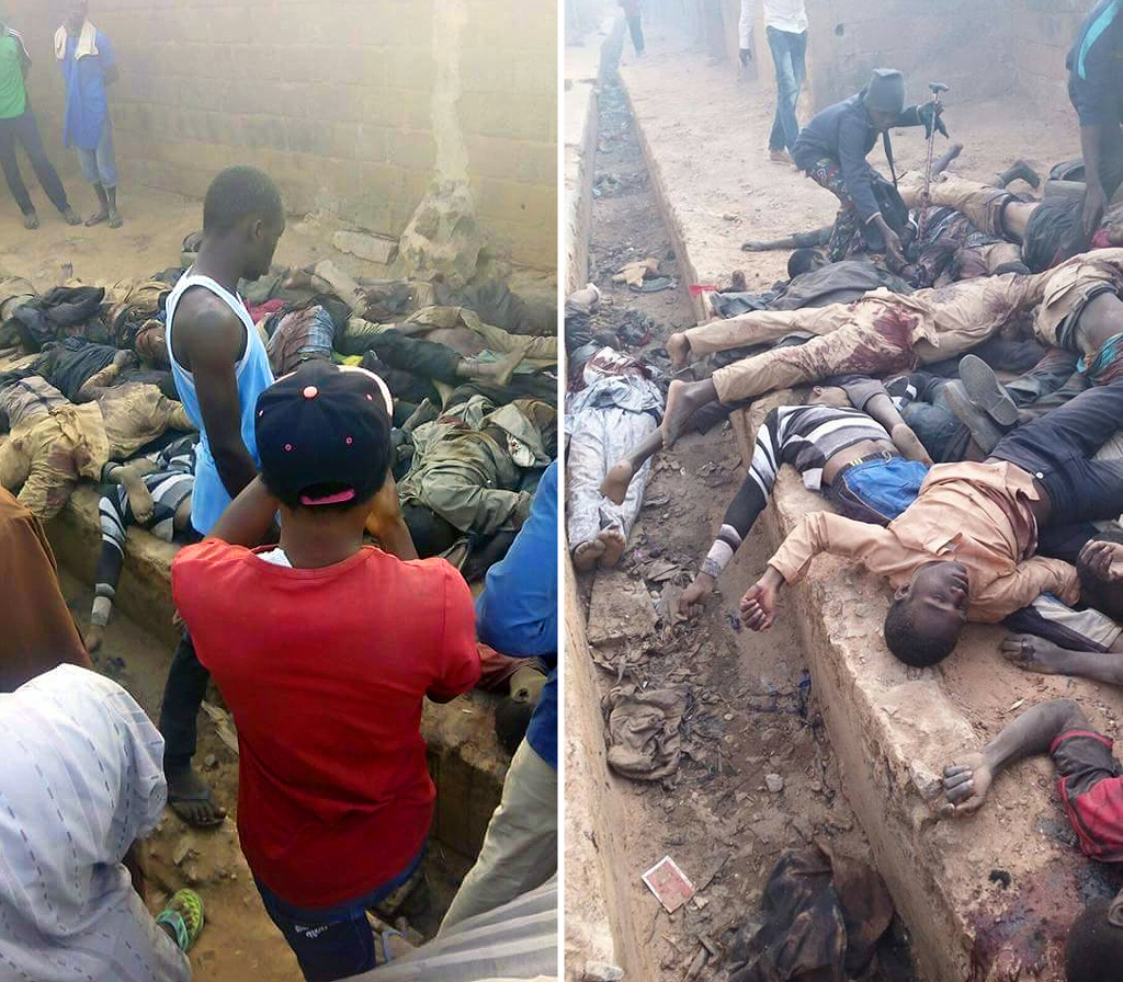 Dead bodies strewn over the massacre zone