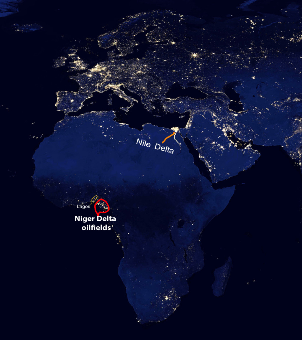 Most of Africa is often dark at night