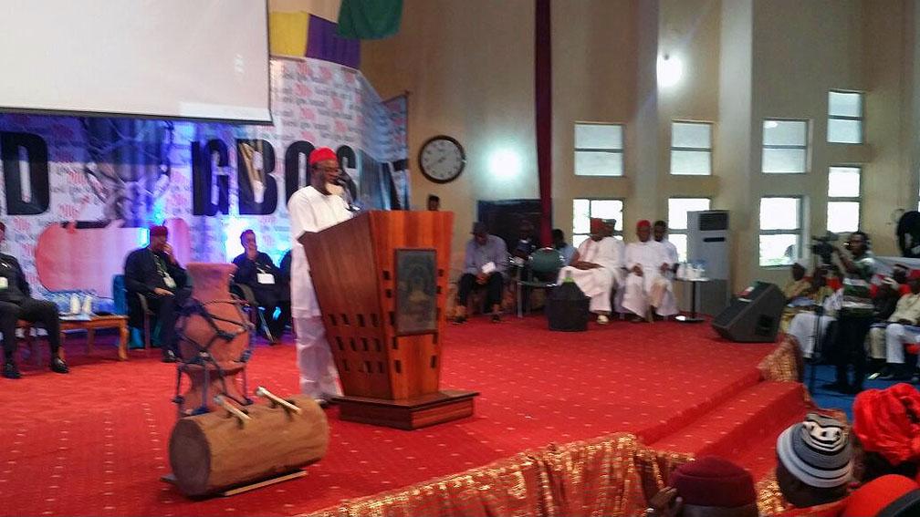 Governor Ezeife speaking at Igbo Summit.