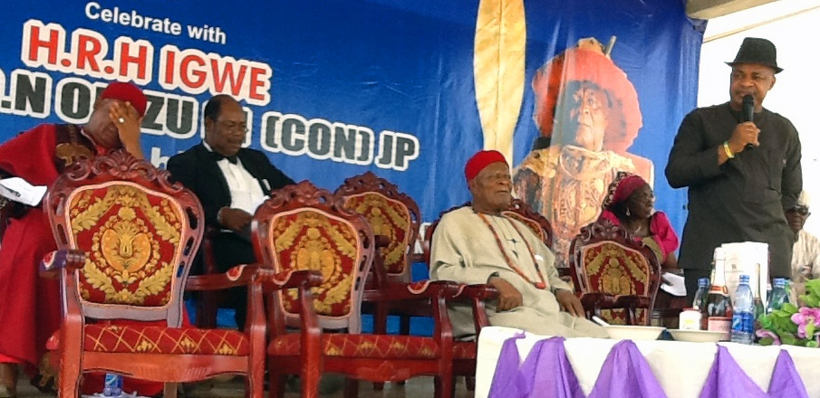 Igwe K. O. N. Orizu (seated front right), the traditional ruler of Nnewi, Anambra state, receives guest dignitaries in his palace as he celebrates his anniversary on the throne.