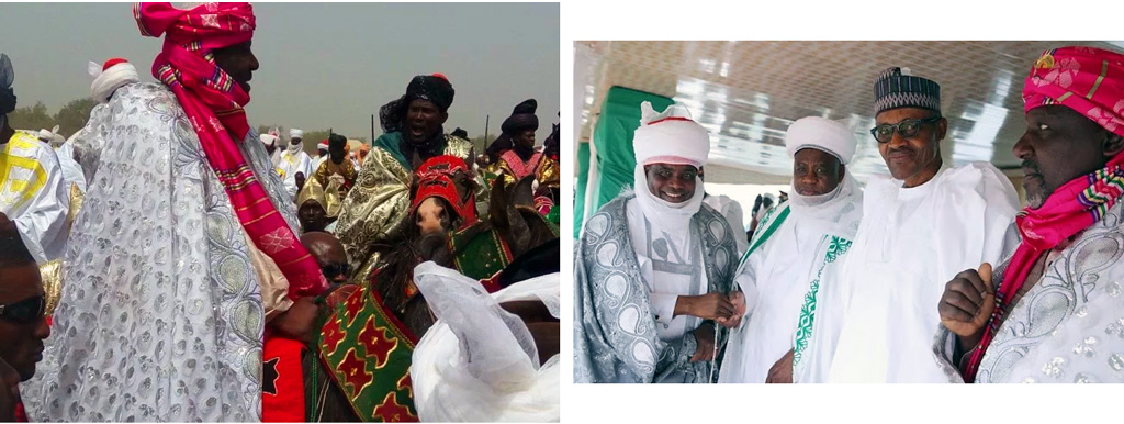 Rochas Okorocha, governor of Imo state, fully turbaned in Fulani Islamic regalia to celebrate with Sultan of Sokoto & Presidnet Muhammadu Buhari recently.