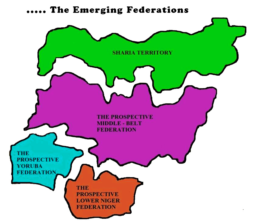 Broken Map for devolving Nigeria.
