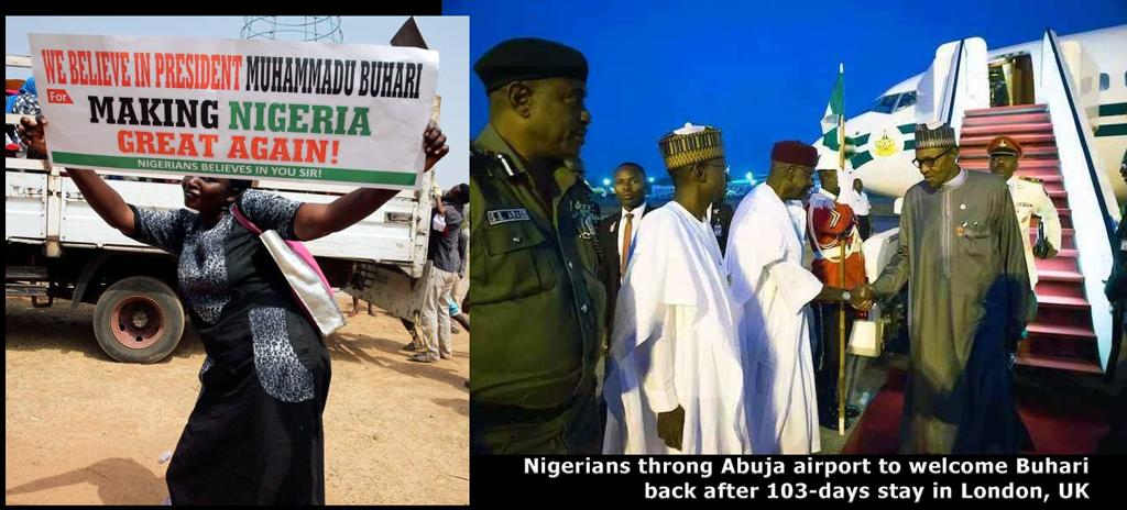 Buhari loyalists at Abuja airport
