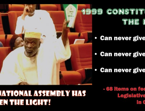 The 1999 Constitution Is the Problem of Nigeria – declares Senator Adeyeye at the National Assembly