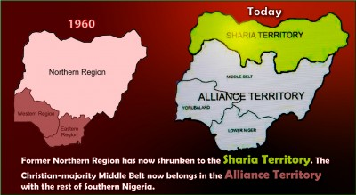 North-south divide altered by Sharia.